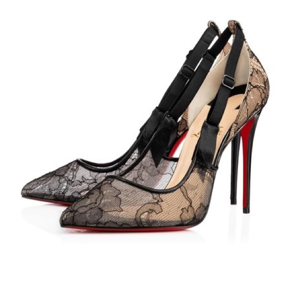 073cf1ca93 Christian Louboutin Shoes | Black Hot Jeanbi 100 Lace Nude | Poshmark